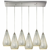 546-6RC-SLV-CRC ELK Lighting Curvalo 6-Light Rectangular Pendant Fixture in Satin Nickel with Silver Crackle Glass
