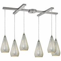 546-6SLV-CRC ELK Lighting Curvalo 6-Light H-Bar Pendant Fixture in Satin Nickel with Silver Crackle Glass