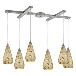 546-6SLVM-CRC ELK Lighting Curvalo 6-Light H-Bar Pendant Fixture in Satin Nickel with Silver Multi Crackle Glass