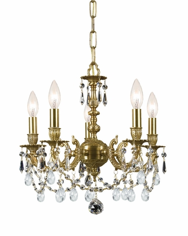 5505-AG-CL-MWP Crystorama Mirabella Cast Brass Mini Chandelier Accented with Hand Cut Crystal