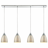 56530/4LP ELK Lighting Merida 4-Light Linear Pendant Fixture in Polished Chrome with Silver Linen Glass