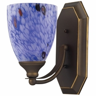 570-1B-BL ELK Lighting Mix-N-Match Vanity 1-Light Wall Lamp in Aged Bronze with Starburst Blue Glass