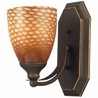 570-1B-C ELK Lighting Mix-N-Match Vanity 1-Light Wall Lamp in Aged Bronze with Cocoa Glass