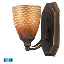 570-1B-C-LED ELK Lighting Mix-N-Match Vanity 1-Light Wall Lamp in Aged Bronze with Cocoa Glass - Includes LED Bulb