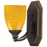 570-1B-CN ELK Lighting Mix-N-Match Vanity 1-Light Wall Lamp in Aged Bronze with Canary Glass