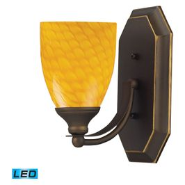 570-1B-CN-LED ELK Lighting Mix-N-Match Vanity 1-Light Wall Lamp in Aged Bronze with Canary Glass - Includes LED Bulb