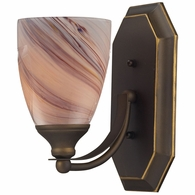 570-1B-CR ELK Lighting Mix-N-Match Vanity 1-Light Wall Lamp in Aged Bronze with Creme Glass