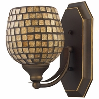 570-1B-GLD ELK Lighting Mix-N-Match Vanity 1-Light Wall Lamp in Aged Bronze with Gold Leaf Glass