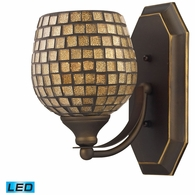 570-1B-GLD-LED ELK Lighting Mix-N-Match Vanity 1-Light Wall Lamp in Aged Bronze with Gold Leaf Glass - Includes LED Bulb