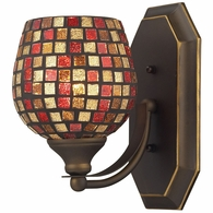 570-1B-MLT ELK Lighting Mix-N-Match Vanity 1-Light Wall Lamp in Aged Bronze with Multi-colored Glass