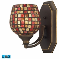570-1B-MLT-LED ELK Lighting Mix-N-Match Vanity 1-Light Wall Lamp in Aged Bronze with Multi-colored Glass - Includes LED Bulb
