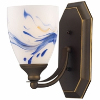 570-1B-MT ELK Lighting Mix-N-Match Vanity 1-Light Wall Lamp in Aged Bronze with Mountain Glass