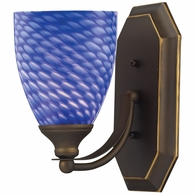 570-1B-S ELK Lighting Mix-N-Match Vanity 1-Light Wall Lamp in Aged Bronze with Sapphire Glass