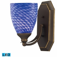 570-1B-S-LED ELK Lighting Mix-N-Match Vanity 1-Light Wall Lamp in Aged Bronze with Sapphire Glass - Includes LED Bulb