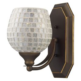 570-1B-SLV ELK Lighting Mix-N-Match Vanity 1-Light Wall Lamp in Aged Bronze with Silver Glass
