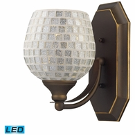 570-1B-SLV-LED ELK Lighting Mix-N-Match Vanity 1-Light Wall Lamp in Aged Bronze with Silver Glass - Includes LED Bulb