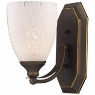 570-1B-SW ELK Lighting Mix-N-Match Vanity 1-Light Wall Lamp in Aged Bronze with Snow White Glass