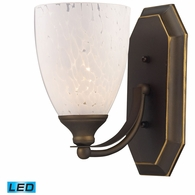 570-1B-SW-LED ELK Lighting Mix-N-Match Vanity 1-Light Wall Lamp in Aged Bronze with Snow White Glass - Includes LED Bulb