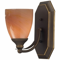 570-1B-SY ELK Lighting Mix-N-Match Vanity 1-Light Wall Lamp in Aged Bronze with Sandy Glass