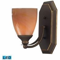 570-1B-SY-LED ELK Lighting Mix-N-Match Vanity 1-Light Wall Lamp in Aged Bronze with Sandy Glass - Includes LED Bulb
