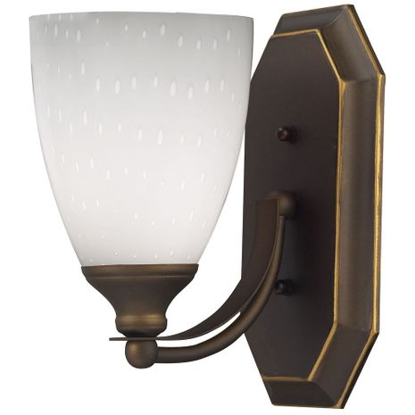 570-1B-WH ELK Lighting Mix-N-Match Vanity 1-Light Wall Lamp in Aged Bronze with Simple White Glass