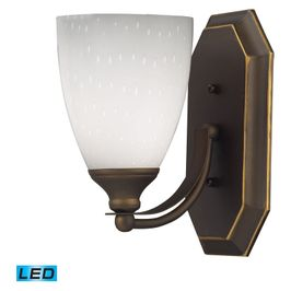 570-1B-WH-LED ELK Lighting Mix-N-Match Vanity 1-Light Wall Lamp in Aged Bronze with Simple White Glass - Includes LED Bulb