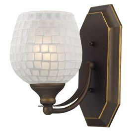 570-1B-WHT ELK Lighting Mix-N-Match Vanity 1-Light Wall Lamp in Aged Bronze with White Glass