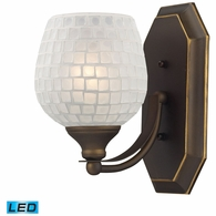 570-1B-WHT-LED ELK Lighting Mix-N-Match Vanity 1-Light Wall Lamp in Aged Bronze with White Glass - Includes LED Bulb