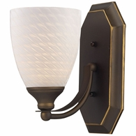 570-1B-WS ELK Lighting Mix-N-Match Vanity 1-Light Wall Lamp in Aged Bronze with White Swirl Glass