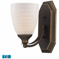 570-1B-WS-LED ELK Lighting Mix-N-Match Vanity 1-Light Wall Lamp in Aged Bronze with White Swirl Glass - Includes LED Bulb