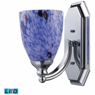 570-1C-BL-LED ELK Lighting Mix and Match Vanity 1-Light Wall Lamp in Chrome with Starburst Blue Glass - Includes LED Bulb