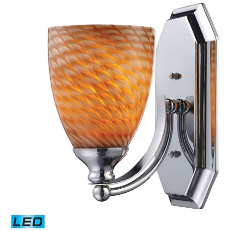 570-1C-C-LED ELK Lighting Mix and Match Vanity 1-Light Wall Lamp in Chrome with Cocoa Glass - Includes LED Bulb
