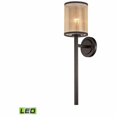 57023/1-LED ELK Lighting Diffusion 1-Light Wall Lamp in Oiled Bronze with Organza and Mercury Glass - Includes LED Bulb