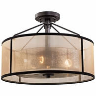 57024/3 ELK Lighting Diffusion 3-Light Semi Flush in Oiled Bronze with Organza and Mercury Glass