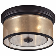 57025/2 ELK Lighting Diffusion 2-Light Flush Mount in Oiled Bronze with Organza and Mercury Glass