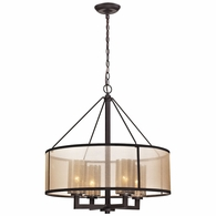 57027/4 ELK Lighting Diffusion 4-Light Chandelier in Oiled Bronze with Organza and Mercury Glass