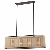 57028/4 ELK Lighting Diffusion 4-Light Chandelier in Oiled Bronze with Organza and Mercury Glass