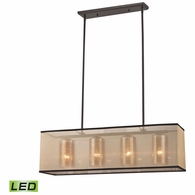 57028/4-LED ELK Lighting Diffusion 4-Light Chandelier in Oiled Bronze with Organza and Mercury Glass - Includes LED Bulbs
