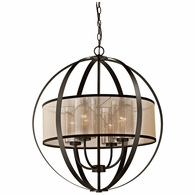 57029/4 ELK Lighting Diffusion 4-Light Chandelier in Oiled Bronze with Organza and Mercury Glass