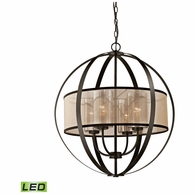 57029/4-LED ELK Lighting Diffusion 4-Light Chandelier in Oiled Bronze with Organza and Mercury Glass - Includes LED Bulbs