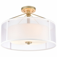 57034/3 ELK Lighting Diffusion 3-Light Semi Flush Mount in Aged Silver with Frosted Glass Inside Silver Organza Shade