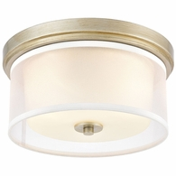 57035/2 ELK Lighting Diffusion 2-Light Flush Mount in Aged Silver with Frosted Glass inside Silver Organza Shade