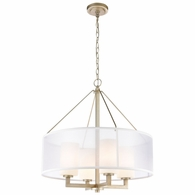 57037/4 ELK Lighting Diffusion 4-Light Chandelier in Aged Silver with Frosted Glass Inside Silver Organza Shade