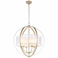 57039/4 ELK Lighting Diffusion 4-Light Chandelier in Aged Silver with Frosted Glass Inside Silver Organza Shade