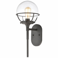 57289/1 ELK Lighting Girard 1-Light Sconce in Charcoal with Clear Glass