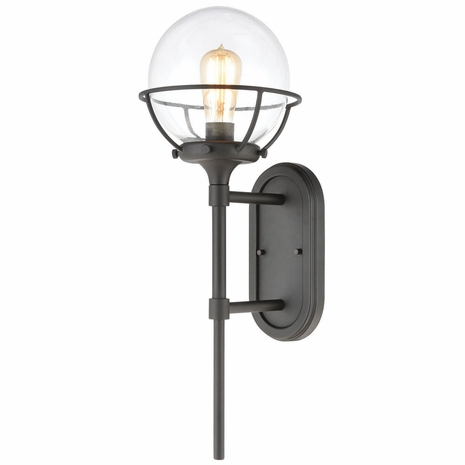 57290/1 ELK Lighting Girard 1-Light Sconce in Charcoal with Clear Glass