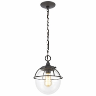 57292/1 ELK Lighting Girard 1-Light Hanging in Charcoal with Clear Glass