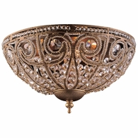5962/3 ELK Lighting Elizabethan 3-Light Flush Mount in Dark Bronze with Crystal
