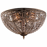 5963/6 ELK Lighting Elizabethan 6-Light Flush Mount in Dark Bronze with Crystal