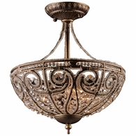 5964/3 ELK Lighting Elizabethan 3-Light Semi Flush in Dark Bronze with 32% Lead Crystal